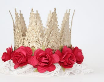 Gold Lace Crown Headband + Red Flowers + Ivory Tulle - Aspen - Lace Crown - Photography Prop - Gold Medallion - Santa