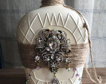 Rustic Chic Crown Royal Bottle with Large Crystal Brooch
