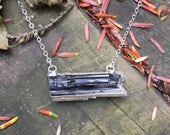 Raw Black Tourmaline Bar Silver Plated Necklace on Sterling Silver Chain - 16 or 18 inches