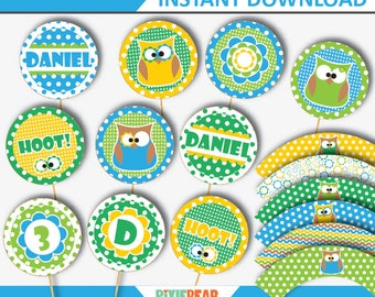 Owl Cupcake Toppers - Owl Topper - Owl Birthday - Owl Party - Owl Birthday Party Decorations - Owl Birthday Printable (Instant Download)