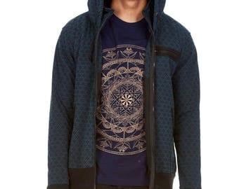 FLOWER OF LIFE hoodie jacket, mens sacred geometry clothing, mens Goa psytrance hooded top, hippie hippy rave hoody jumper with thumb holes