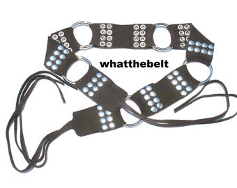 Vintage Brown Sash Leather Suede  Hippie Belt Fringes Tassels Hip Belt Studded Tie up
