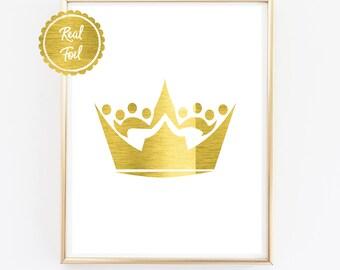 Nursery Poster // Little boys Print // Kings Crown in Gold Foil // Gold Kids Print // Prince Poster // Crown Wall Art // Gold Crown cute