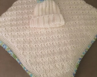 Baby Boy Blanket and Hat...Ready to Ship!