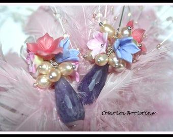 Spring earrings, gemstones, Freshwater Pearl