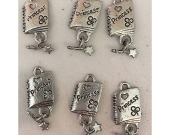 Princess journal star wand pen CHARM (6) charms antique pewter - 6 charms per pack princess