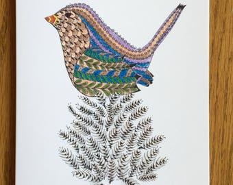 Bird on a Pinecone, Bird Card, whimsical, pen and ink, sparrow card, wren card