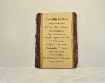 Family Rules Bark Edge Sign