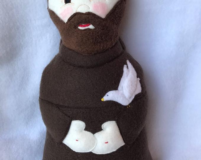 Saint Francis Doll, Saint Francis Handmade Soft Saint Doll, St. Francis of Assisi, Francis Doll, Fleece Saint Doll, Catholic Saint Doll.