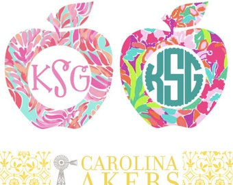Monogrammed Apple Decal - Apple Decal - Monogram Decal - Yeti Decal - Car Decal - Window Decal - Teacher Decal - Education Decal