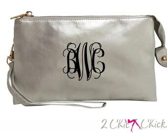 Monogram Crossbody Purse, monogram clutch, monogram purse, bridesmaids gift, monogram wristlet, personalized handbag wallet crossbody bag