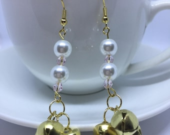 Christmas Earrings Swarovski Crystal Gold and Pearl Jingle Bells Nickle Free Gold Plated Stainless Steel XMAS Party Time