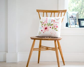 Floral Cushion, Sofa Pillow Printed With Flowers, 40cmx40cm, Flower Design, pink, Quality Cushion, Zipped Cover (OHSO962)
