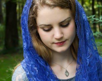 Evintage Veils: Marian Blue Soft Lace Infinity Chapel Veil Mantilla SOFT!!!