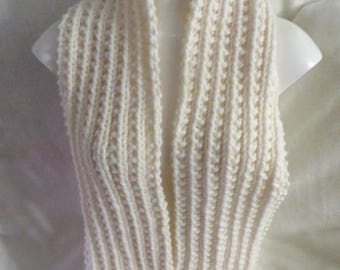 Cream  Chunky Knit Scarf, Womans Scarf, Mans Scarf,  Aran Acrylic Hand Knitted 84 inches Extra Long