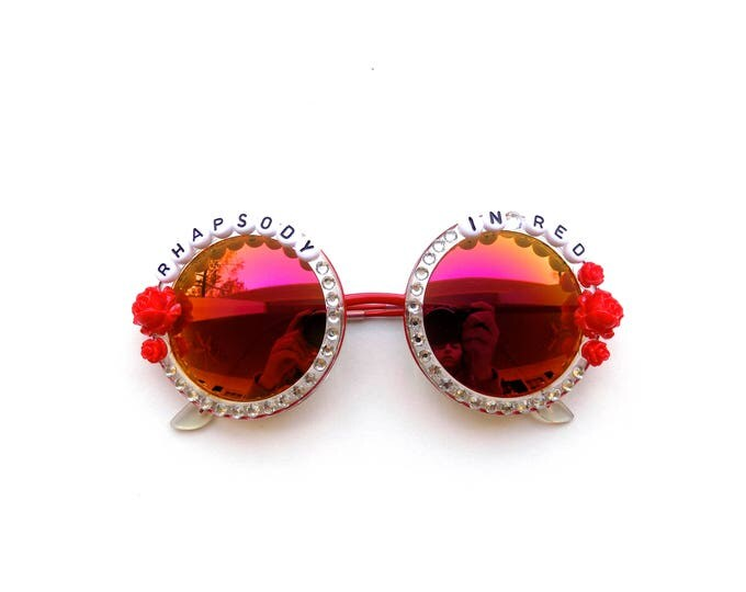 """Jerry Garcia Band """"Rhapsody in Red"""" decorated sunglasses, groovy festival sunnies with jam band lyrics, Dead and Company accessory"""
