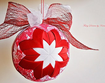 Quilted Christmas ball, Quilted ball ornament
