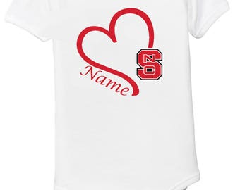 NC State Wolfpack Personalized Baby Bodysuit