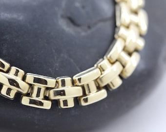 Vintage 10K Gold Link Bracelet Classic Style Dressy Small 6 1/2 Inch Shiny Wonderful Anniversary Wedding Birthday Gift