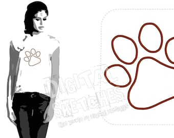 Paw Dog Cat Applique Design Machine Embroidery Deisgn Paw Print INSTANT DOWNLOAD 5 Sizes