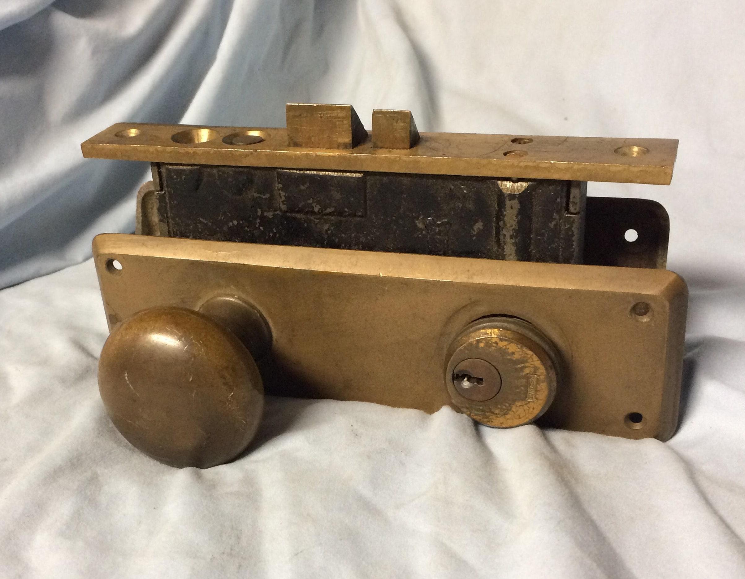 Vintage Reading Brass Door Knob Latch Lock Set Mortise