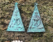 Bronze Patina Verdigris Seated Buddha Triangle Pendant from Thailand - 2 Inches - 50 mm