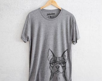 Scout the Boston Terrier - Tri-Blend Unisex Crew Grey