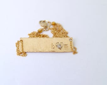 Bar Necklace Personalized, Custom Name Plate Necklace, Engraved Gold Bar Necklace, Custom Name Necklace, Silver, Rose, Gold, Bare and Me