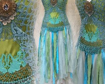 Wedding dress colourful,Boho dress free spirit, wedding dress mermaid,,gypsy dress free spirit ,boho wedding dress,peacook colors,Rawrags