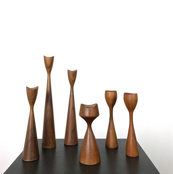 Vintage Collection of Danish Modern Teak Candle Holders