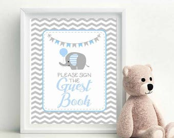 Elephant Guest Book Party Sign, Printable Party, Baby Blue and Gray Elephant Printable Party Sign,  Instant Download -D978 BBEB2