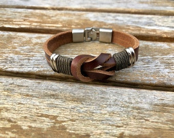 Brown Leather Sailor Knot Infinity Bracelet With Strong Interlocking Clasp CS8