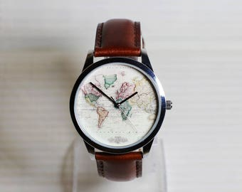 Antique Map watch,Sailing diary,Vintage Style Leather Watch,Women Watches, Men's Watch, Unisex Watch, Traveler Gift, Vintage Watch
