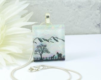 Fused Glass Horses Pendant - Dichroic Glass Pendant - Horses with Tree and Mountain- Cream Glass Necklace - Fused Glass Jewellery.  JBT584