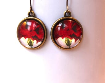 Red Carnation Flower Floral Earrings Antique Brass Finish Pierced Ear Dangle Earrings