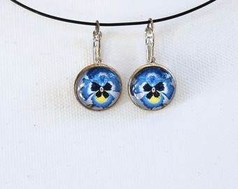 Blue Pansy Flower Floral Earrings Silver Finish Pierced Ear Dangle Earrings