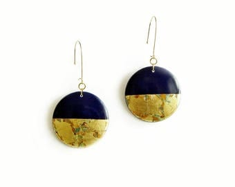 Round Dangle Earrings, Blue Gold Wood Earrings, Big Circle Earrings, Statement Jewelry, Painted Gold Earrings, Gift for Women