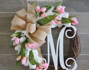 Pink & White Tulip Wreath. Grapevine Wreath. Year Round Wreath. Spring Wreath. Summer Wreath. Monogram Wreath. Door Wreath.