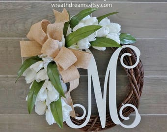 BEST SELLER! White Tulip Wreath. Grapevine Wreath. Year Round Wreath. Spring Wreath. Summer Wreath. Monogram Wreath. Door Wreath.