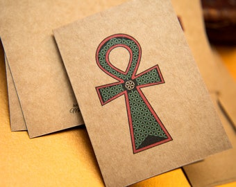 Small Egyptian Ankh and Flower of Life kraft Blank Greeting cards. Ancient Egypt, protection, Spiritual Art Gift card packs. kraft christmas