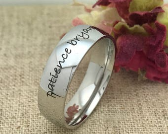 7mm Personalized Stainless Steel Ring, Custom Promise Ring for Him, His Wedding Band, Purity Ring, Custom Date Ring, Friendship Ring