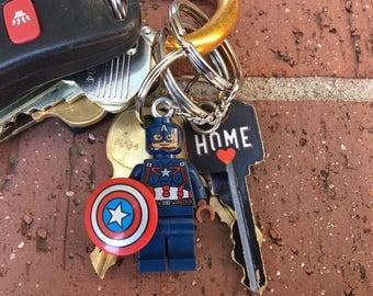 Marvel Avengers Captain America Mini-Figure Key Chain With Custom Gift Box