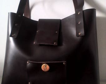 """""""Louise"""" brown leather tote bag"""