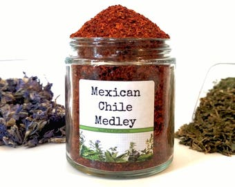 Mexican Chile Medley Ground Dried Peppers Pulla Morita Guajilo New Mexico Pasilla Arbol Mulato Ancho Gourmet Cooking Chef Foodie Gift