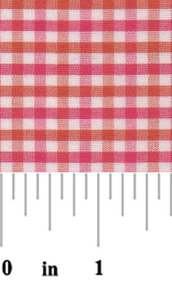 Orange and Raspberry Check Fabric Fabric Finders,100 percent cotton, Orange and Raspberry Check Gingham Fabric, Orange and Pink Check