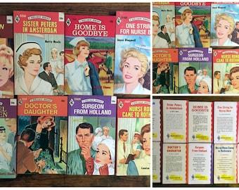 10 vintage Harlequin romance novels featuring nurses/medical stories