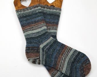 hand knitted mens wool socks, hand knit socks, socks, warm socks, handmade socks, wool socks, gift for men, UK 9-10  US 8,5-9.5