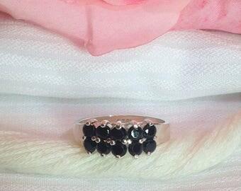 Elegant Black Spinel Ring ~ 925 Sterling Silver Ring ~ Size 6.75