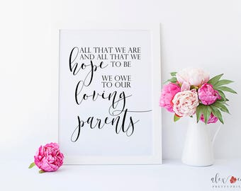 Parents Gift Wedding. Parent Thank You. Wedding Parent Gift. Wedding Quote Signs. Wedding Gift Parents. Gifts for Parents on Wedding Day.