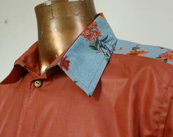 PAOLO man shirt, cotton and linen high fashion, size L/XL, OOAK